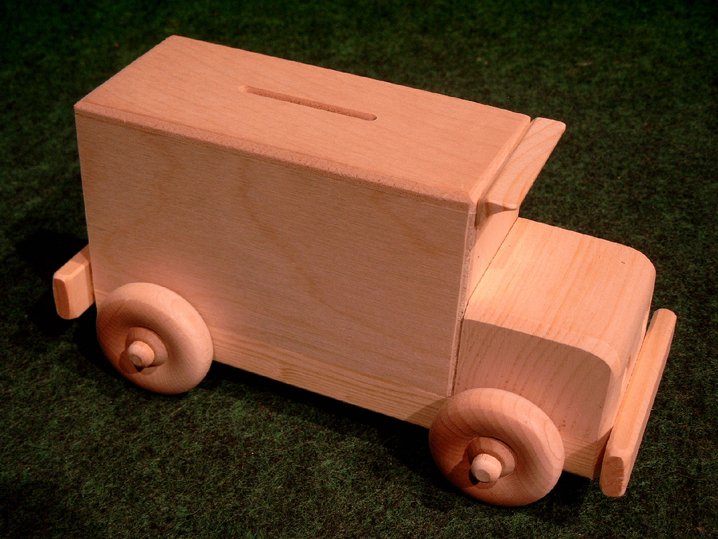 Wooden Armored Car Piggy Bank Toy