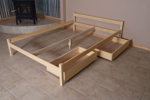 Organic Bedroom Untreated Solid Wood Bed Frame Sleigh