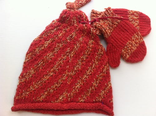 Knit Candy Cane Hat And Mittens Set