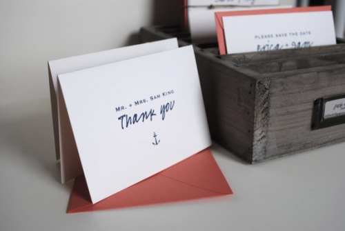 Recycled Paper Thank You Card Set - Personalized