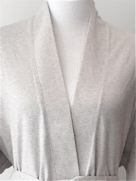 Lightweight Organic Cotton Kimono Bathrobe - Heather Grey