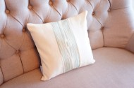 Aqua Knotty Pine and Cream Linen non-toxic Cushion