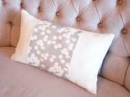 Grey Cherry Blossom & Linen non-toxic Cushion - Oblong
