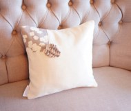 Grey Cherry Blossom and White Linen with Felt Pine cone non-toxic Cushion