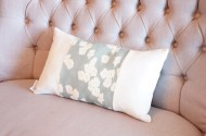 Blue Cherry Blossom and Linen non-toxic Cushion - Oblong
