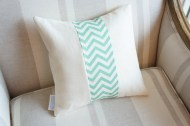 Aqua Chevron Stripe non-toxic Cushion
