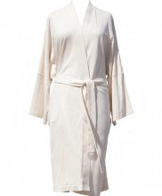 Lightweight Organic Cotton Kimono Bathrobe - Natural