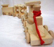 Wooden Train Set with 4 Cars