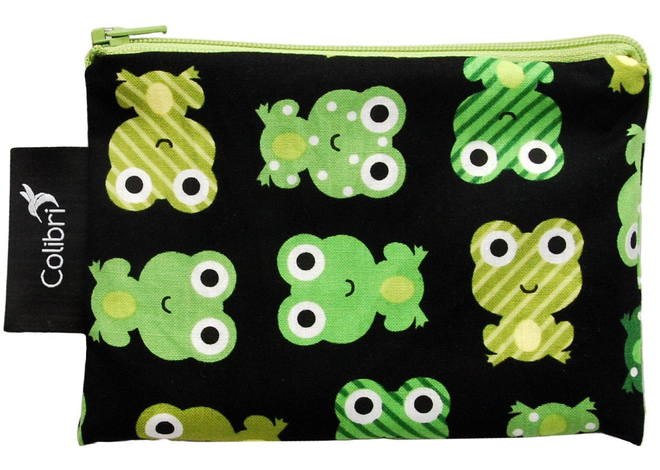 Organic Clothing Reusable Snack Bags Frogs