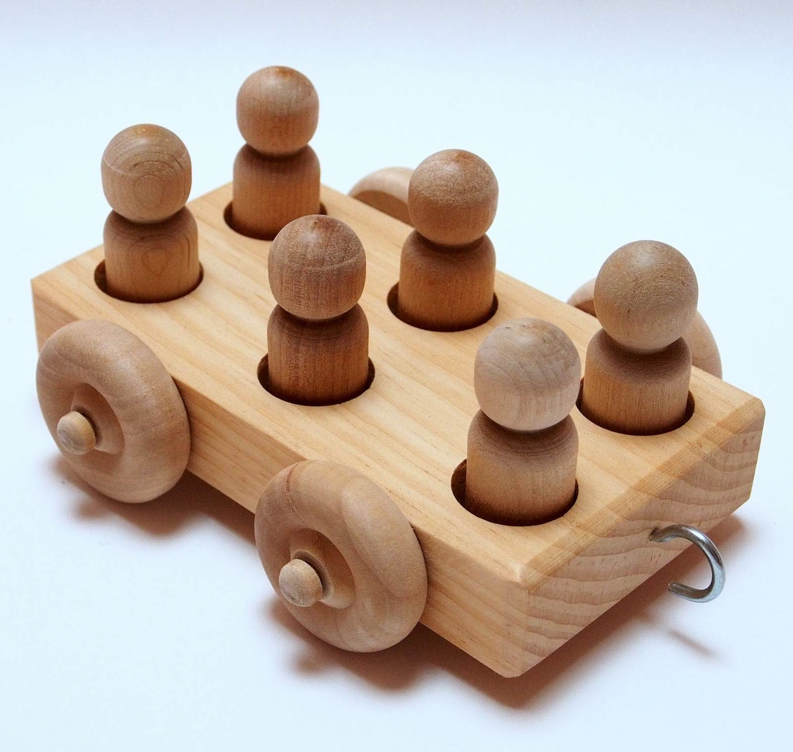 Wooden Toys Product : Natural baby and kids toys wooden train set with cars