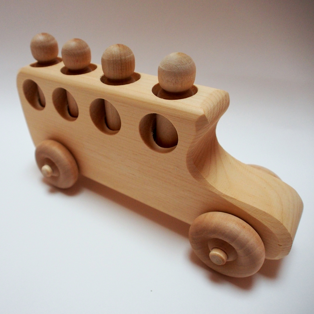 Natural Baby And Kids Toys Wooden School Bus Toy